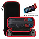 Nintendo Switch Case and Tempered Glass Screen Protector, Ztotop Portable Travel Carrying Case Protective Hard Shell Pouch for Nintendo Switch Console & Accessories (10 Game Holder), Streak Red