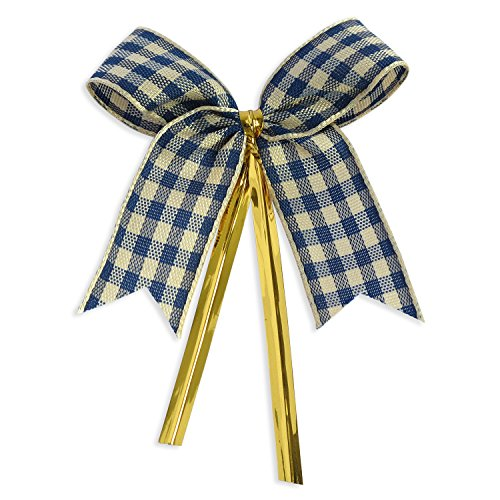 Ribbon Bows with Twist Ties (50 Pieces) - Medium Size: 2 Inches - Made of High Quality Woven Ribbon - Great for Bakery Bag, Cello Bag, Lollipop, Cake Pop and Party Favor (Blue and Beige Gingham)