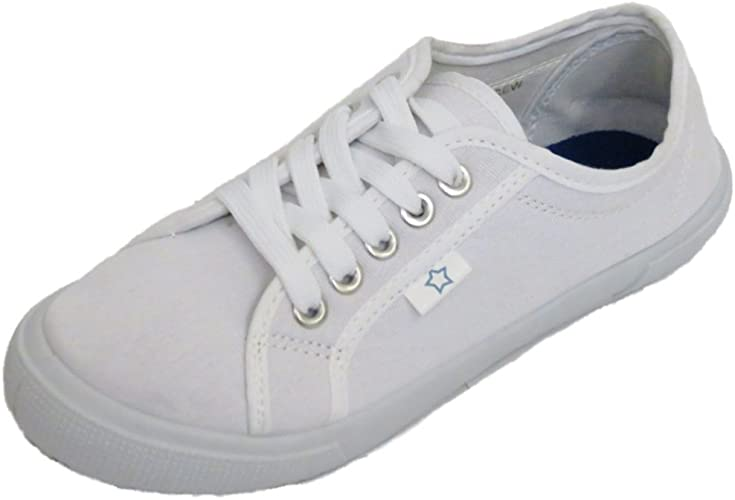 Womens White Canvas Lace-Up Flat