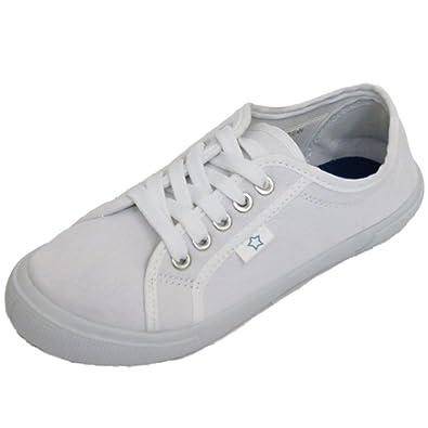 Damen Schuhe Weiß Leinen Schnürschuhe Flach Turnschuhe