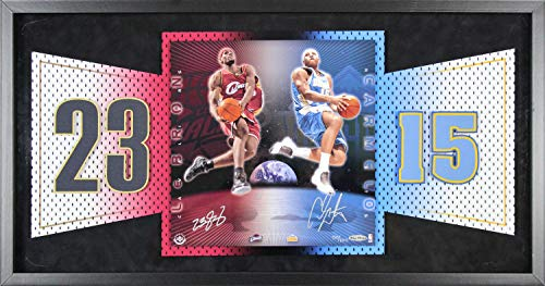 Lebron James & Carmelo Anthony Autographed Signed Framed 11X11 Photo Le Autographed Signed #50/100 - Beckett Authentic