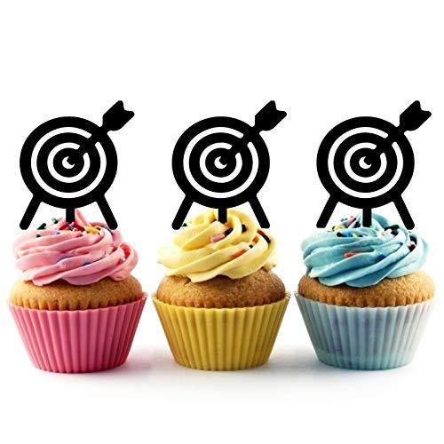 TA0767 Arrow Shoot Target Silhouette Party Wedding Birthday Acrylic Cupcake Toppers Decor 10 pcs]()
