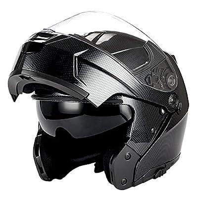 1Storm Motorcycle Modular Full Face Helmet Flip up Dual Visor/Sun Shield; Carbon Fiber Black