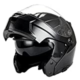 1Storm Motorcycle Modular Full Face Helmet Flip up Dual Visor/Sun Shield; Carbon Fiber Black