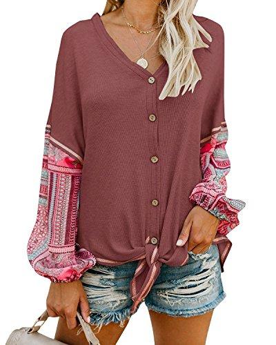 Uncinba Womens Boho Button Cardigan Knit V Neck Tie Knot Front Patchwork Blouse Top