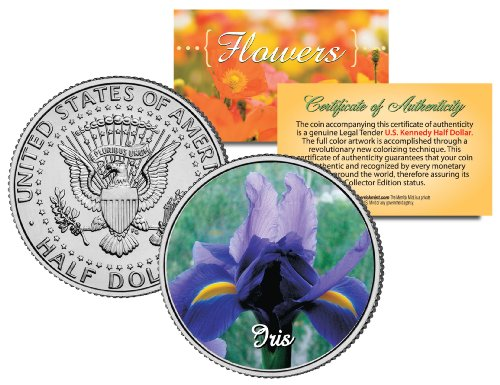 IRIS FLOWER JFK Kennedy Half Dollar US Colorized Coin