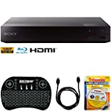 Sony BDP-S1700 Streaming Blu-ray Disc Player w/Accessories Bundle Includes, 2.4GHz Wireless Backlit Keyboard with Touchpad, 6ft HDMI Cable and Laser Lens Cleaner for DVD/CD Players