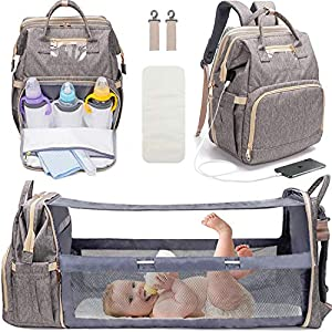 3 in 1 Diaper Bag Backpack with Changing Station, Travel Bassinet Foldable Baby Bed, Baby Bag Portable Crib, Mummy Bag…
