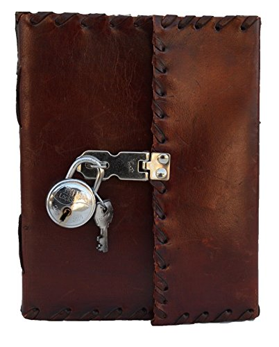 Jaald Genuine Leather Handmade Secret Leather Notebook Journal Diary Book with Actual Lock and Key for Girls, Poets, Writer and Artists Nice Gift for …