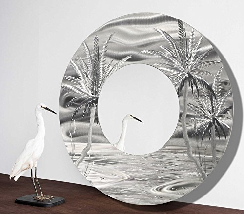 Large Round Beach Inspired Contemporary Metal Wall Mirror -