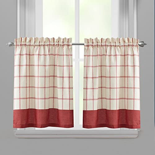 Richloom Home Fashions Bistro Checkered Tier Pair Window Curtains, 60-Inch x 24-Inch Red