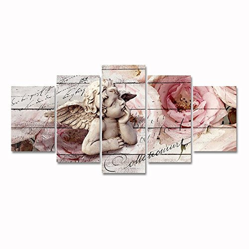 5 Panels Canvas Wall Art Guardian Angel in Blossoming Pink Rose Flower Painting Artwork for Living Room Home Decor
