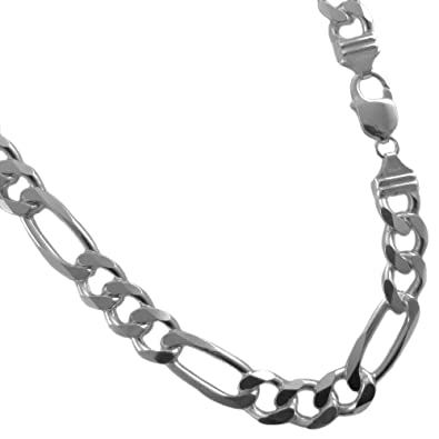 925 Silver Chain >> 11mm Figaro Chain Italian 925 Sterling Silver Necklace 18 20 22
