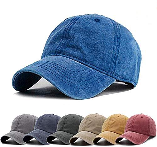 (Aedvoouer Unisex Washed Twill Cotton Baseball Cap Vintage Distressed Plain Adjustable Dad Hat (Blue))