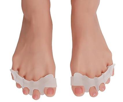 Gel separador de dedos (1 par) para la corrección de los dedos del pie, juanete Socorro, ...