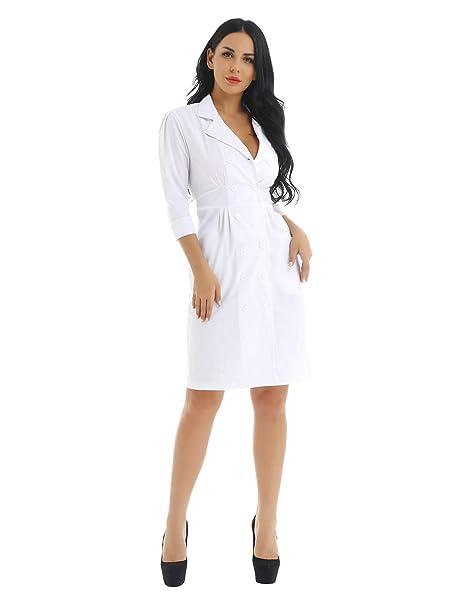 Alvivi Disfraces de Enfermera Chica Mujer Vestido Blanco ...