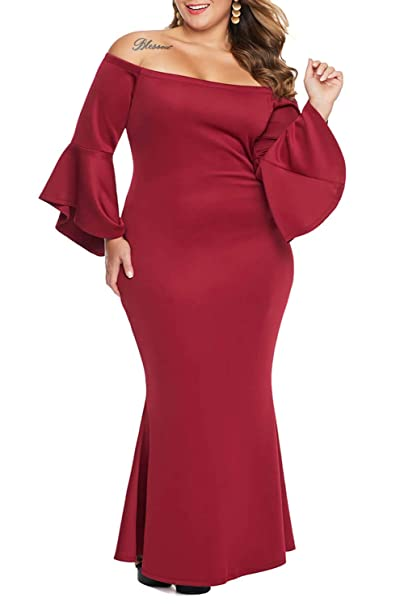Ecosunny Women Plus Size Off Shoulder Flare Sleeve Maxi Long Formal Party  Dress Evening Gown