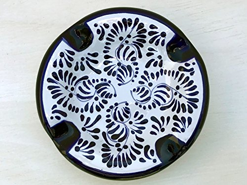 Talavera Ceramic Ashtray 5'' Modern Art Design Authentic Puebla Mexico Pottery Hand Painted Design Vivid Colorful Art Decor Signed [Classic Blue Leaves Design }