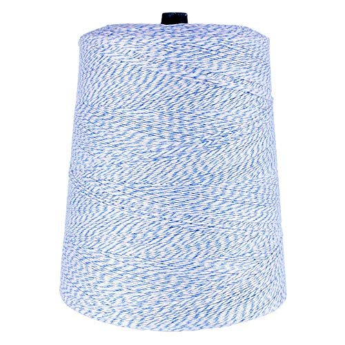 Variegated 4-Ply Cotton and Polyester Bakery Wrapping Twine - 2lb Cone - All-Purpose String Kitchen Bakery Home Garden (Blue and White)