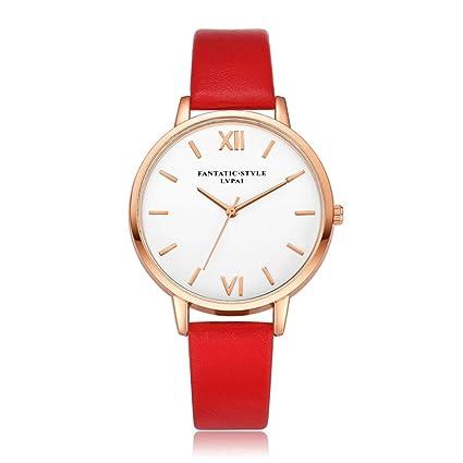 Xinantime Relojes Mujer,Xinan Reloj de Pulsera Reloj Redondo Cuero Imitación (Rojo)