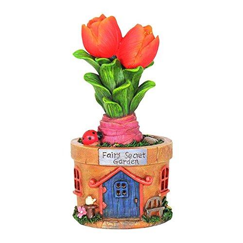 Mini Dollhouse FAIRY GARDEN Accessories - Solar Tulip Pot House - My Garden Miniatures