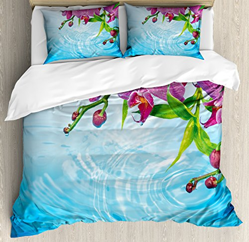 - Lunarable Floral Duvet Cover Set Queen Size, Vibrant Orchid Rippled Water Freshness Meditation Nature Inspirations, Decorative 3 Piece Bedding Set with 2 Pillow Shams, Fuchsia Aqua Blue Green