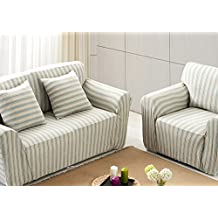 ChezMax Striped Pattern Soft Cotton Fabric Sofa Cover 1 Piece Thicken Strenched Arm Chair Sofa Slipcovers Light Blue