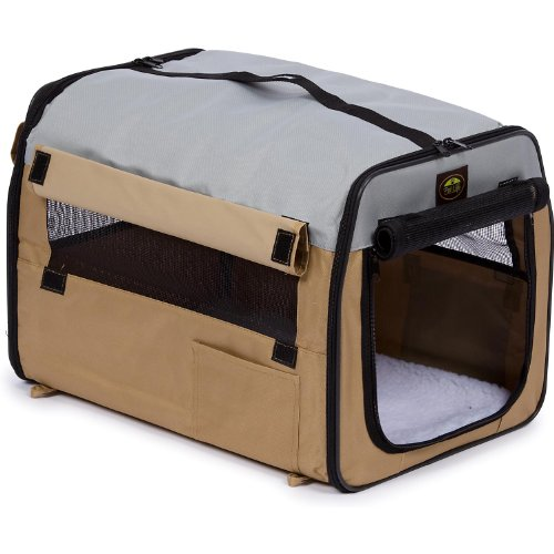Pet Life Easy Folding' Zippered Folding Collapsible Wire Framed Lightweight Pet Dog Crate Carrier, Large, Khaki