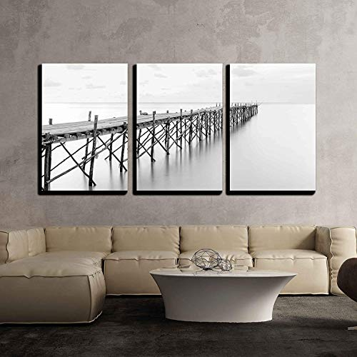 "wall26 - 3 Piece Canvas Wall Art - Black and White Photography of a Beach Wooden Pier - Modern Home Decor Stretched and Framed Ready to Hang - 16""x24""x3 Panels"