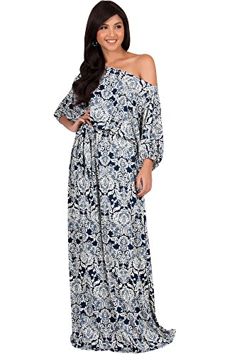 (KOH KOH Plus Size Women Long Sexy One Off Shoulder Print Casual Flowy 3/4 Short Sleeve Summer Cute Boho Bohemian Sexy Gown Gowns Maxi Dress Dresses, Navy Blue and White 3X 22-24 )