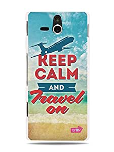 GRÜV Premium Case - 'Fun Cool Novelty : Keep Calm and Travel On' Design - Best Quality Designer Print on White Hard Cover - for Sony Ericsson Xperia U ST25i