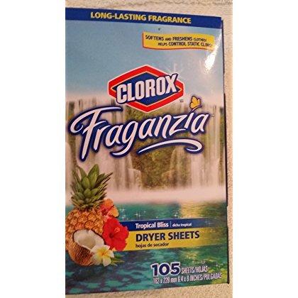 Clorox Fraganzia Tropical Bliss Dryer Sheets 105 Sheets