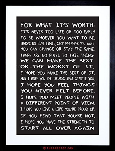 The Art Stop Quote Motivation Typography for What It's Worth Black Framed Print F12X6197