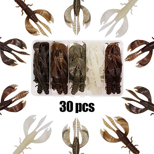 XFISHMAN Crawfish Baits Creature Lure Bass Fishing Lure Kit 30 pcs Crawdad Shrimp Plastic Baits 2 Huge Pinchers 3-4in ()