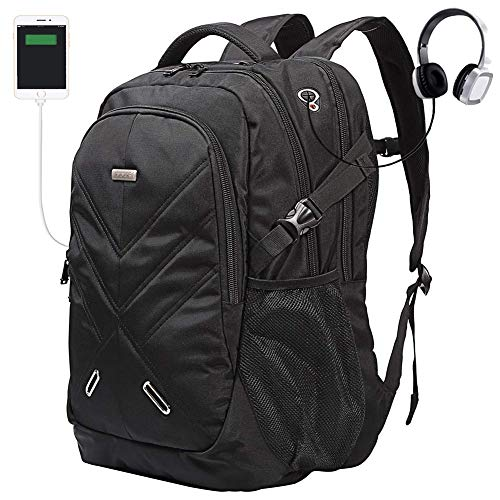 Largest Laptop Backpack - Backpack for Laptops Up to 18.4 Inch Hiking Backpack Water Resistant Travel Computer Backpack Shockproof Laptop Backpack with USB Charging Port and Waterproof Rain Cover (Black)