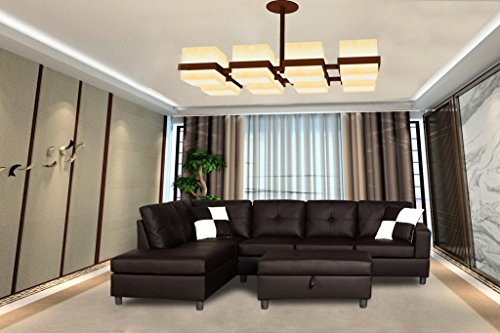 Legend Faux Leather Right-Facing Sectional Sofa Set With Free Storage Ottoman, Brown, 3 Piece