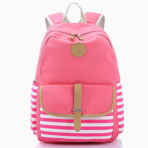 School Backpack, Aiduy Student Canvas Bookbag Lightweight Laptop Bag for Teen Boys and Girls (Pink)