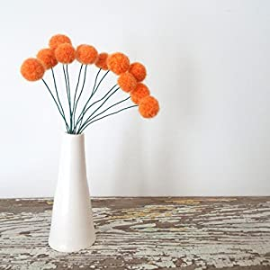 Orange Felt flowers. Wool Pom pom Flowers. Faux Flower Bouquet. Small Floral Arrangement. Fake Centerpiece. Craspedia Table Decoration.