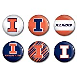 NCAA University of Illinois WCR22173014 Round Button (6 Pack), 2''