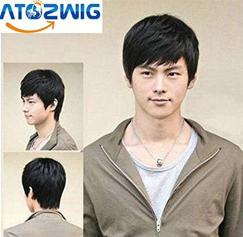 Cheap Wigs With Bangs (ATOZWIG Short Wig with Bangs Men&Women Attractive Fashion Men's Short Straight Layered Wig +Wig Cap)