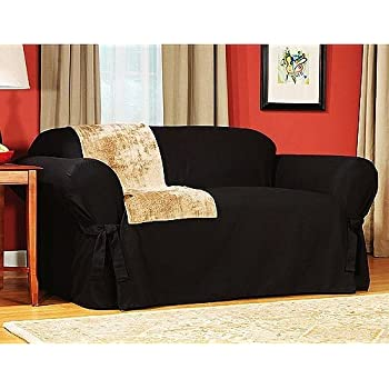 Amazon Com Soft Micro Suede Solid Black Sofa Slipcover