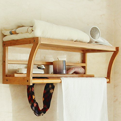 Bath Towel Rack Bar with Bamboo Shelf and Hooks for Bathroom Kitchen By BAMBUROBA