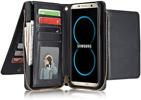 Phone Case Leather Wallet Case Detachable Magnetic Zipper Purse View Flip Cover for Galaxy iPhone
