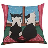 Howstar Cute Cat Home Decoration Pillow Cover Sofa Bed Throw Pillowcase (B)