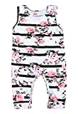 Mini honey Baby Girl Pink Floral Striped Print Sleeveless Romper Bodysuit Summer Clothes Outfits (18-24 Months, White)