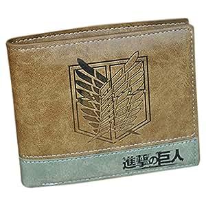 Ataque en Tit¨¢n Shingeki no Kyojin Recon Cuerpo PU bolso de cuero Monedero