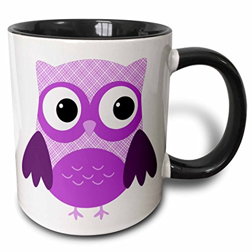 3dRose mug_167618_4 Cute Purple Plaid Owl - Two Tone Black Mug, 11oz (Owl Plaid)