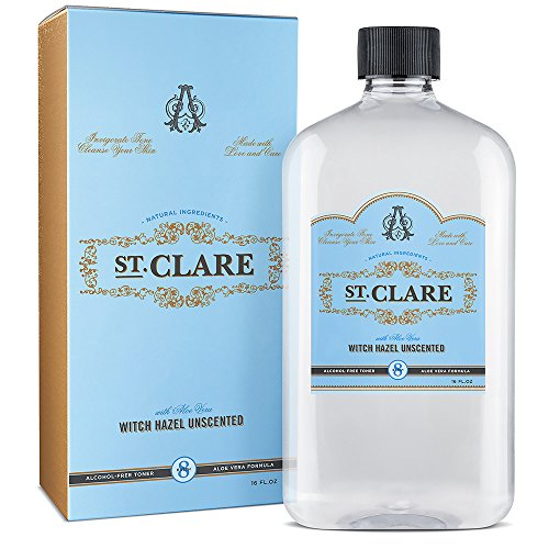 St Clare Alcohol-Free Witch Hazel 16oz – Unscented Aloe Vera Natural Toner for Face & Skin