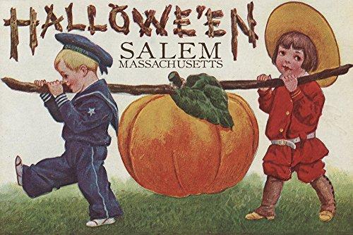 Salem, Massachusetts - Halloween Kids and Pumpkin - Vintage Postcard (12x18 SIGNED Print Master Art Print w/Certificate of Authenticity - Wall Decor Travel ()
