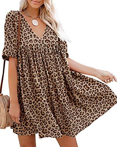 Hestenve Women's Short Sleeve V Neck Pleated Babydoll Solid Color Tunic Party Swing Mini Dress (Large, Z-Leopard)